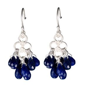 Me and Ro Sterling Silver Lapis Flower Earrings